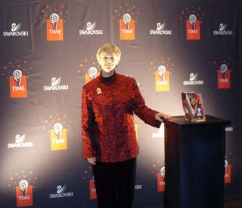 Dr. Judith L. Mackay with The Time 100 award.