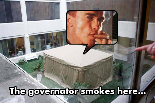 The governator smokes here
