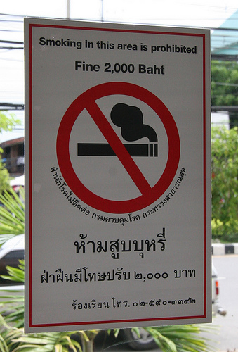 Thai no smoking sign