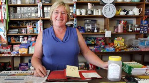 GOOD FIGHT: Lois Ireland in her shop on Flinders Island, where she has taken a stand against tobacco products. Picture: ROGER LOVELL