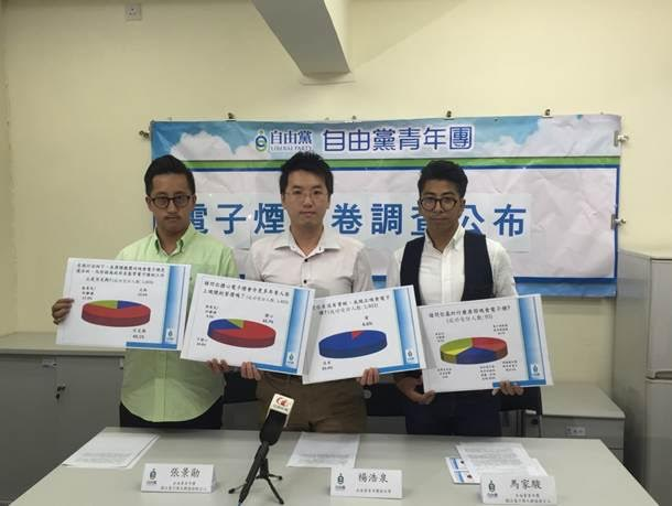 (From L) Mr Fun Cheung, Mr Harris Yeung, and Mr Danny Ma present Liberal Party's survey results.