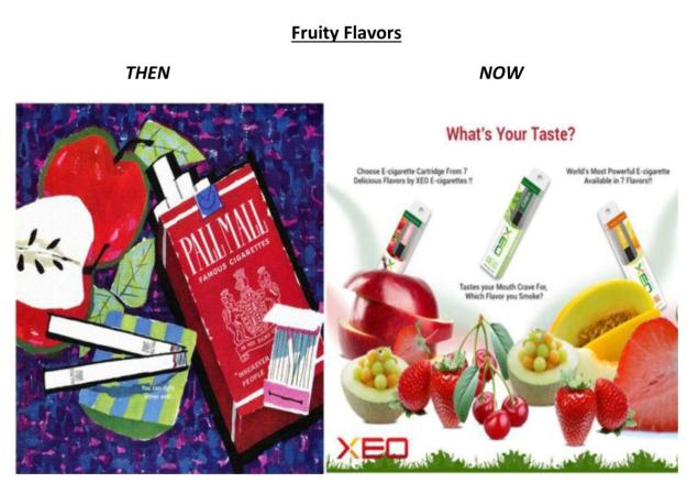 The fruity flavors of e-cig cartridges are the focus of this ad, which could be attractive to kids.