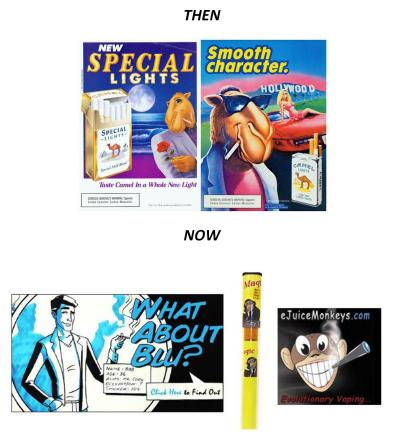 E-cig companies are using cartoons in their ads, something tobacco companies had to do away with because they target kids.
