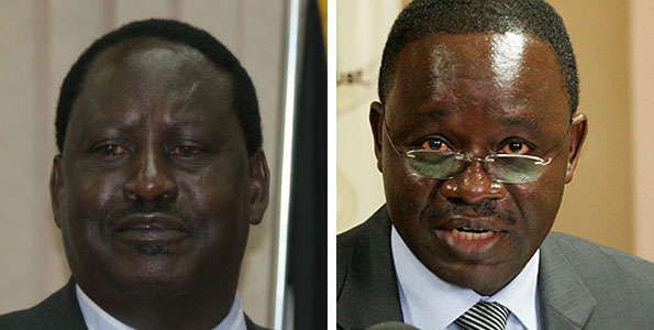 From left, former Prime Minister Raila Odinga and former acting PS Andrew Mondoh. Whistleblower Paul Hopkins says senior officials in Mr Odinga's office ordered the KRA to freeze multi-million shilling tax demands issued to Mastermind Tobacco. PHOTO | FILE