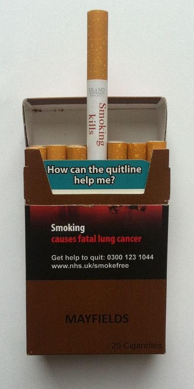 The future: cigarettes that carry warnings on them, plus inserts about quitting.