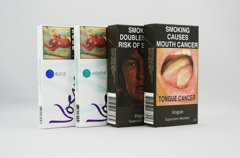 More before and after photos of cigarette packs from Australia, where plain packaging was introduced in 2012.