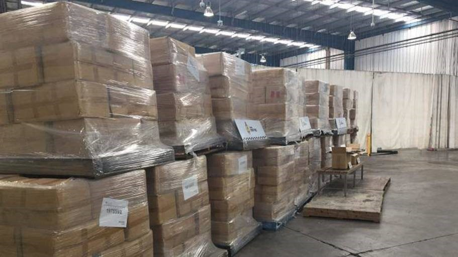 Some of the 71 tonnes of illicit tobacco seized by Australian customs officials in June. Photo: Paul Bibby