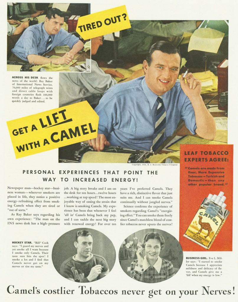 Sometimes cigarettes were simply marketed as a quick pick-me-up.