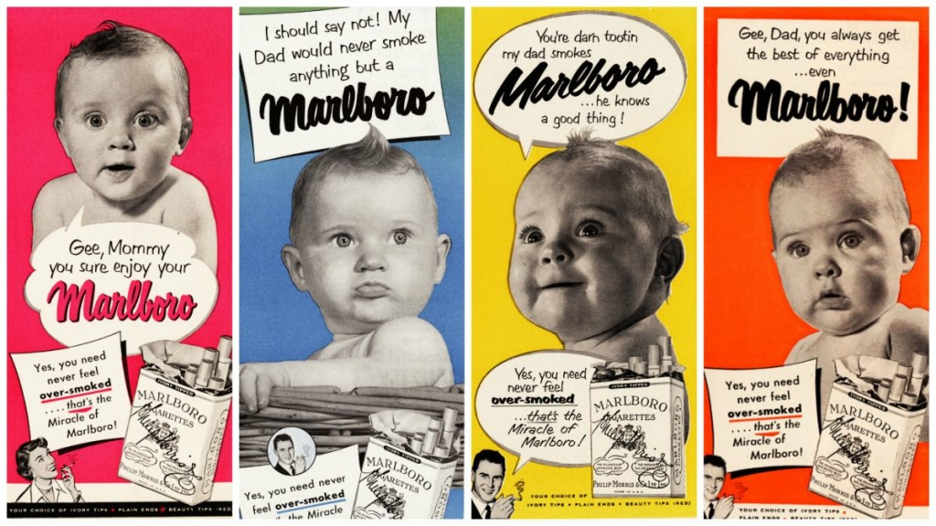 This ad campaign showed small children admiring their parents' choice of cigarettes. The use of children was part of the industry's master plan​ to rope in more female consumers.