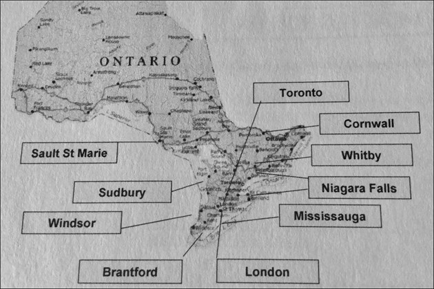 Leaked map shows 10 Ontario 'strategic municipalities' whose local politicians were targeted in 2012 by Imperial Tobacco Canada. Reasons for selecting these targets included their 'proximity to illicit tobacco' and 'likelihood of buy-in.'