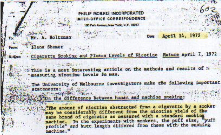 Big Tobacco knew 44 years ago that people did not smoke like tar measuring machines.  Legacy Industry Documents Library