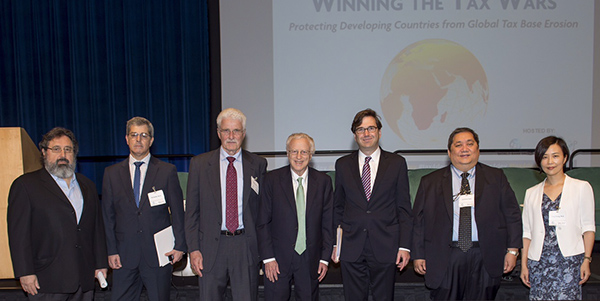 Expanding the Global Tax Base: Taxing to Promote Public Goods, Tobacco Taxes: (Pictured left to right) Patricio Marquez, World Bank Group, Fernando Serra, Ministry of Economy & Finance, Uruguay; Philip Cook, Duke University; George Akerlof, Georgetown University; Jason Furnman, US President's Council of Economic Advisers; Jeremias Paul, former Under Secretary of Finance, Philippines; and Rose Zheng, University of International Business and Economics,  Beijing, China.