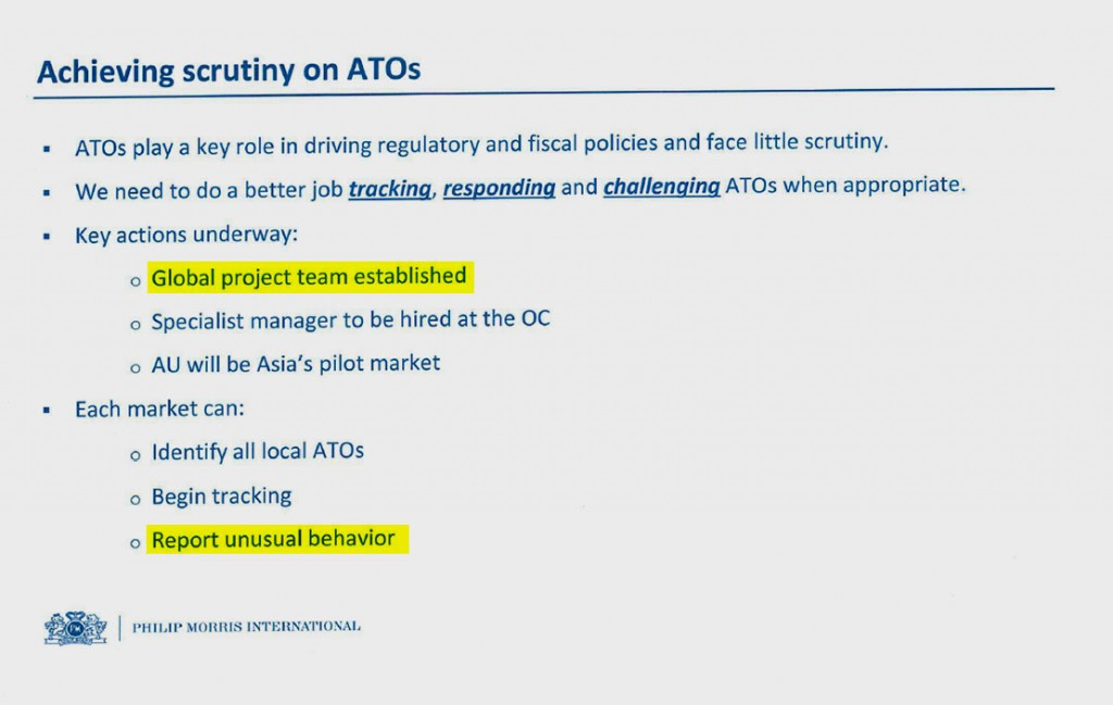 A slide from the 2014 presentation shows Philip Morris plans for tracking anti-smoking groups, which the company calls anti-tobacco organizations, or ATOs.