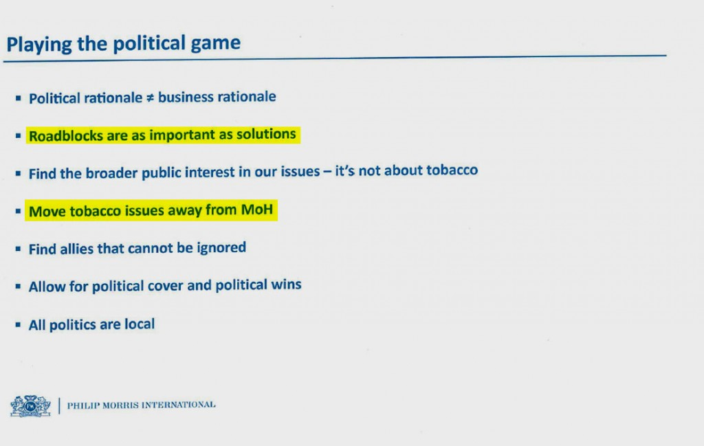 "The same 2014 document shows objectives for corporate affairs executives. ""Roadblocks"" refers to delays in implementing anti-smoking steps. ""MoH"" refers to ministries of health."