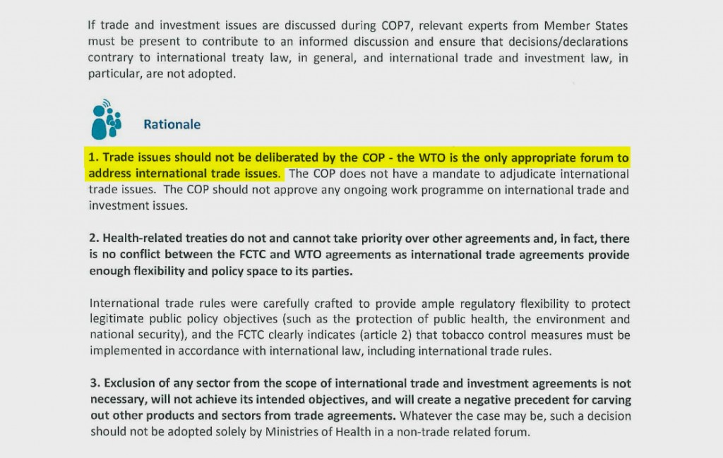 Excerpt from a Philip Morris briefing paper on trade arguments, ahead of the treaty meeting in India last year. The company has long argued that the biennial Conference of the Parties (COP) should leave trade issues to the World Trade Organization (WTO).