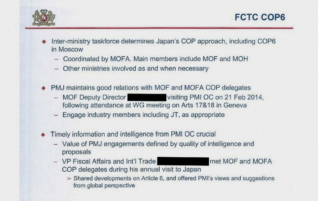 This slide, also from the Japan presentation, talks about Philip Morris Japan maintaining good relations with members of Japan's FCTC delegation, and a Philip Morris executive meeting with members of the country's FCTC delegation. (MOF = Ministry of Finance; MOFA = Ministry of Foreign Affairs; JT = Japan Tobacco.)