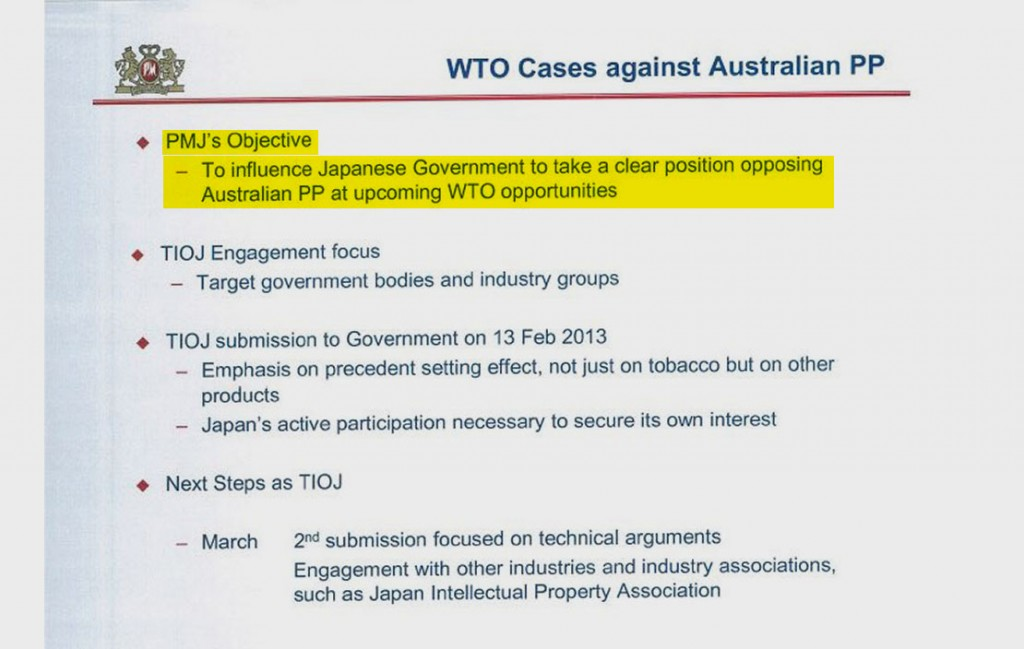 This slide, also from the Japan presentation, reveals the company's plans for opposing moves in Australia to bar the use of logos or distinctive coloring on cigarette packs. The measure is known as plain packaging, or PP. The Tobacco Institute of Japan, or TIOJ, declined to comment.