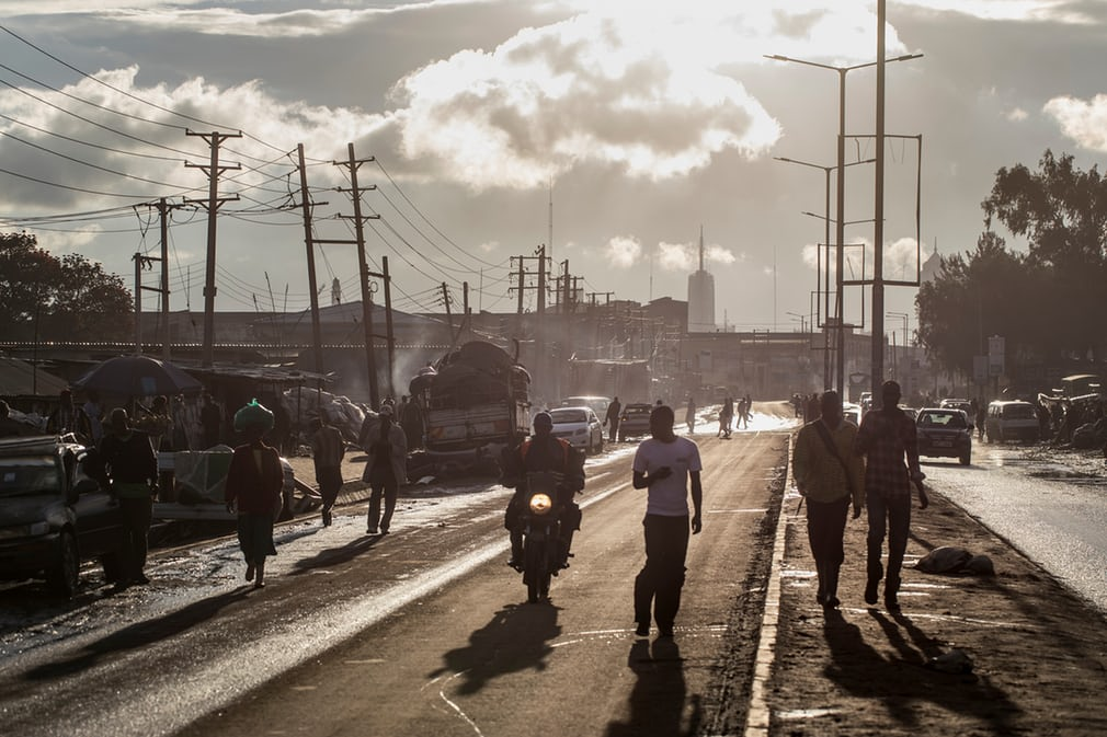 The afternoon sets on Enterprise Road in Nairobi's industrial zone. Photograph: David Levene for the Guardian