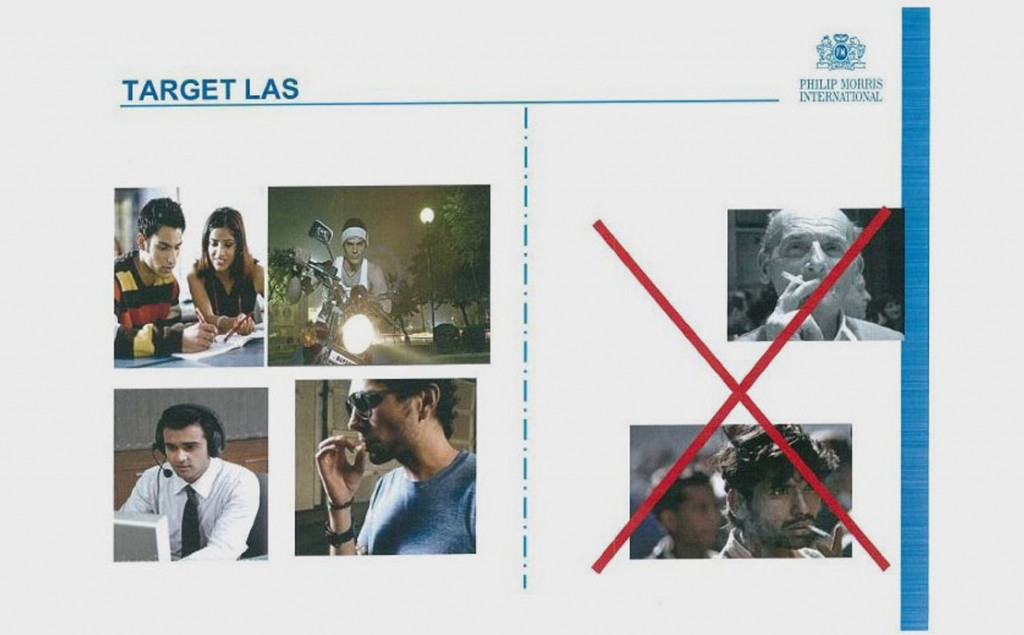 A slide from a Philip Morris training manual shows the kinds of people the company aims to target for Marlboro sales in India. LAS = legal age smokers.