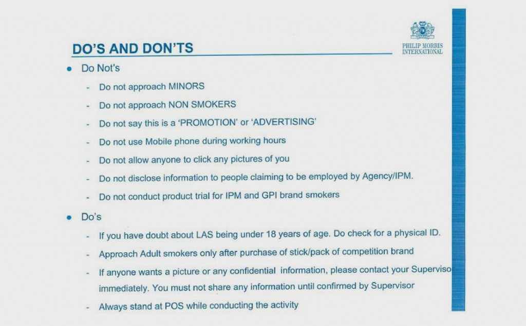Another slide from the Philip Morris training manual includes instructions for company representatives handing out free cigarettes at kiosks as part of brand promotion. (IPM = India Philip Morris; GPI = Godfrey Phillips India; POS = point of sale.)