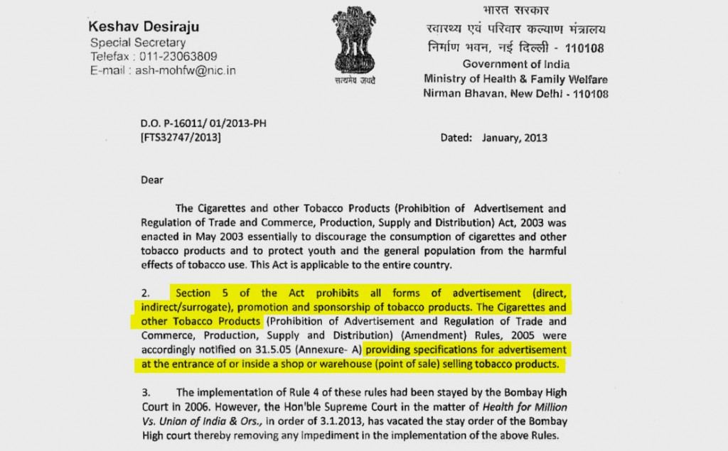 Keshav Desiraju, then a senior health ministry official, wrote to state governments in January 2013, instructing them to stop all tobacco advertisements.