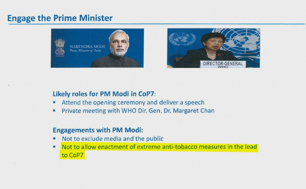 Ahead of the World Health Organization's global tobacco control treaty meeting in India last November, Philip Morris planned to engage Prime Minister Narendra Modi in an effort to head off new anti-tobacco measures. The slide is from a 2014 corporate affairs document. CoP7 = Conference of the Parties, the biennial treaty meeting.