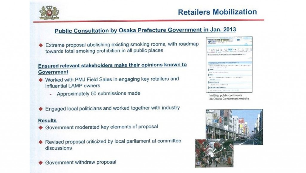 "In January 2013, Osaka Prefecture in Japan held a public consultation on a proposal to abolish existing smoking rooms, with a ""roadmap towards total smoking prohibition in all public places,"" according to a February 2014 Japan corporate affairs presentation. The Philip Morris document describes it as an ""extreme proposal."" Elements of the campaign: 1: Ensure that ""relevant stakeholders"" oppose the move. Philip Morris field sales staff engaged retailers and others. 2: Engage local politicians and work with the industry in pushing back against the proposal. OUTCOME: The proposal was withdrawn."