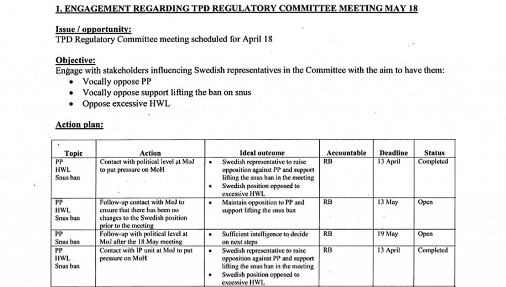 "A 2010 Philip Morris document shows the company drawing up plans to lobby Sweden in an effort to influence the European Commission's new tobacco regulations for member states, known as the Tobacco Products Directive (TPD). Elements of the campaign: 1: Engage the justice ministry to ""put pressure"" on the health ministry so that the Swedish representative on the European Commission committee opposes plain packaging and ""excessive"" health warning labels, and supports lifting the ban on snus, a smokeless tobacco product. 2: Build a ""broad coalition"" of ""third-party stakeholders,"" such as the Stockholm Chamber of Commerce, and get them to pressure the government. (The chamber told Reuters that it does not lobby on behalf of individual companies.) 3: Establish a retailer network and contact bloggers and journalists to voice concerns about issues, including plain packaging and point-of-sale display bans. OUTCOME: Plain packaging and point-of-sale display ban were not included in the directive, which came into force in May 2014."